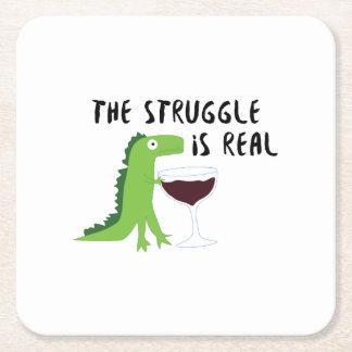 Porta-copo De Papel Quadrado o dinossauro T Rex o Struggl é vinho real