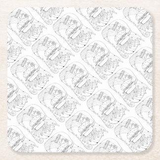 Porta-copo De Papel Quadrado O hamburguer frita a linha design da arte