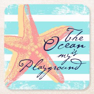 Porta-copo De Papel Quadrado O oceano é meu campo de jogos