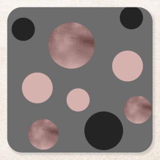 Porta-copo De Papel Quadrado o ouro cor-de-rosa do falso elegante cora círculos