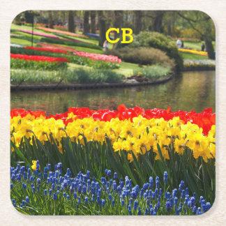 Porta-copo De Papel Quadrado O primavera personalizado floresce portas copos da