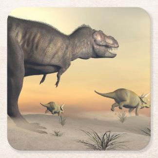 Porta-copo De Papel Quadrado O Triceratops que escapa dos tiranossauros 3D
