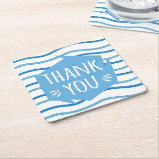 Porta-copo De Papel Quadrado Obrigado azul e branco das listras você festa de
