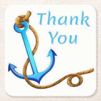 Porta-copo De Papel Quadrado Obrigado náutico da âncora do navio do azul e da