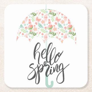 Porta-copo De Papel Quadrado Olá! guarda-chuva do primavera
