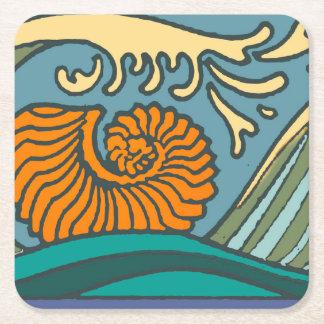 Porta-copo De Papel Quadrado Ondas de oceano azuis coloridas