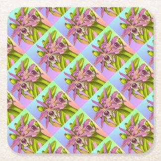 Porta-copo De Papel Quadrado Orquídeas cor-de-rosa coloridas