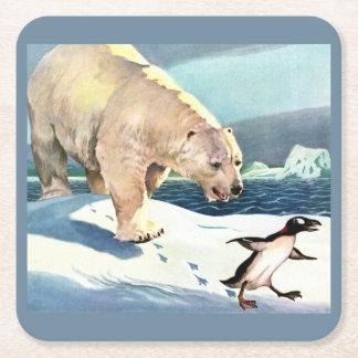 Porta-copo De Papel Quadrado os anos 40 urso polar e pinguim