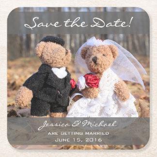 Porta-copo De Papel Quadrado Os ursos dos noivos salvar a data