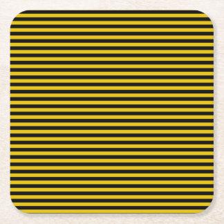 Porta-copo De Papel Quadrado Ouro amarelo e xadrez preta listrados