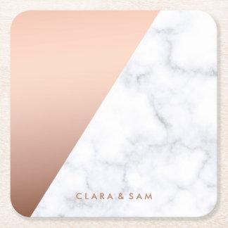 Porta-copo De Papel Quadrado ouro cor-de-rosa do mármore branco geométrico