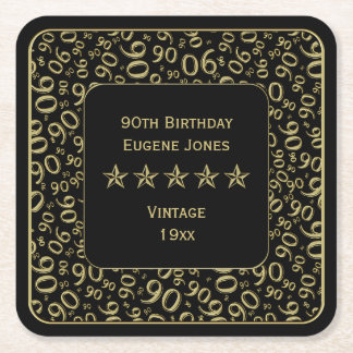 Porta-copo De Papel Quadrado ouro da festa de aniversário do 90/teste padrão