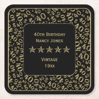 Porta-copo De Papel Quadrado Ouro do partido de aniversário de 40 anos/teste