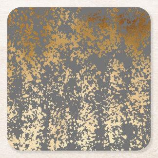 Porta-copo De Papel Quadrado ouro elegante do falso do pintinho e brushstrokes