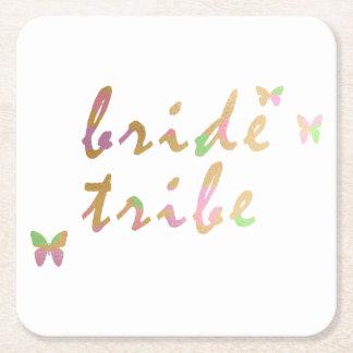 Porta-copo De Papel Quadrado ouro elegante e tribo cor-de-rosa da noiva do ouro