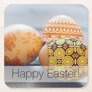 Porta-copo De Papel Quadrado Ovos da páscoa pintados rústicos