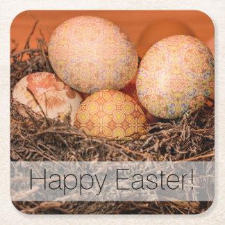 Porta-copo De Papel Quadrado Ovos da páscoa rústicos no ninho