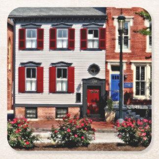 Porta-copo De Papel Quadrado PA de Harrisburg - Rosas na rua do estado