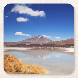 Porta-copo De Papel Quadrado Paisagem de Altiplano com o vulcão em Bolívia