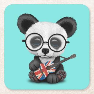 Porta-copo De Papel Quadrado Panda do bebê que joga a guitarra britânica da