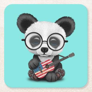 Porta-copo De Papel Quadrado Panda do bebê que joga a guitarra da bandeira