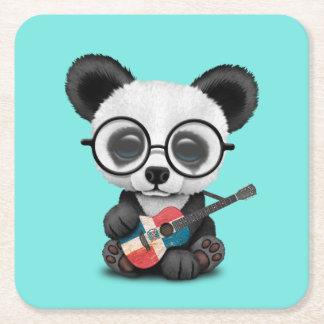 Porta-copo De Papel Quadrado Panda do bebê que joga a guitarra dominiquense da