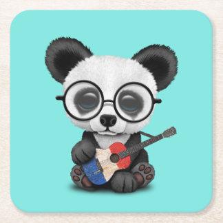 Porta-copo De Papel Quadrado Panda do bebê que joga a guitarra francesa da