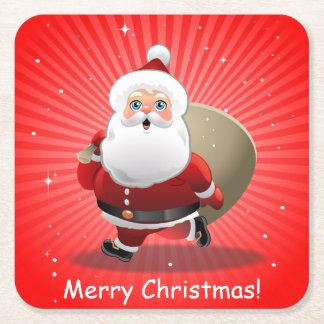 Porta-copo De Papel Quadrado Papai Noel feliz
