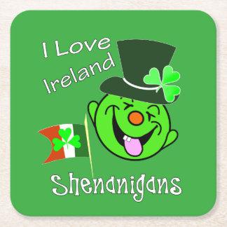 Porta-copo De Papel Quadrado Partido afortunado temático irlandês do Leprechaun