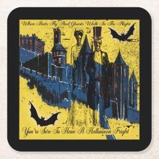 Porta-copo De Papel Quadrado Partido feliz do Dia das Bruxas com esqueletos do