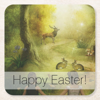 Porta-copo De Papel Quadrado Páscoa bonita da cena da floresta do coelho do
