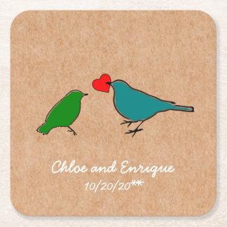 Porta-copo De Papel Quadrado Pássaros e casamento personalizado bonito do