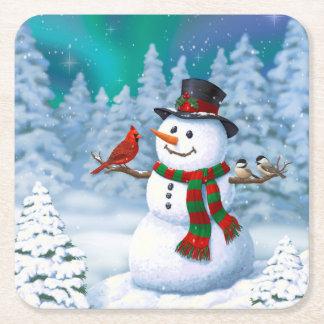 Porta-copo De Papel Quadrado Pássaros felizes do boneco de neve e do inverno