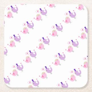 Porta-copo De Papel Quadrado Pássaros formais do amor