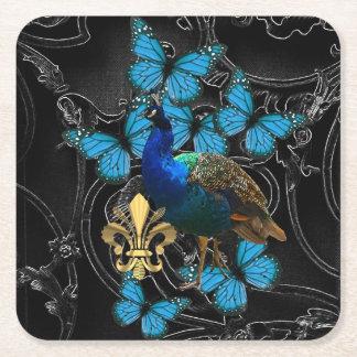 Porta-copo De Papel Quadrado Pavão gótico e borboletas