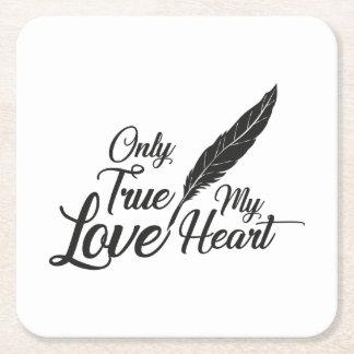 Porta-copo De Papel Quadrado Pena verdadeira do amor da ilustração