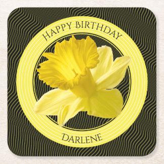 Porta-copo De Papel Quadrado Personalize:  Daffodil floral do amarelo da