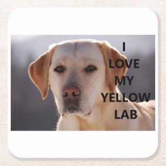 Porta-copo De Papel Quadrado PIC amarelo de w do amor de Labrador