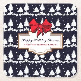 Porta-copo De Papel Quadrado Pinheiros e família feliz da época natalícia da