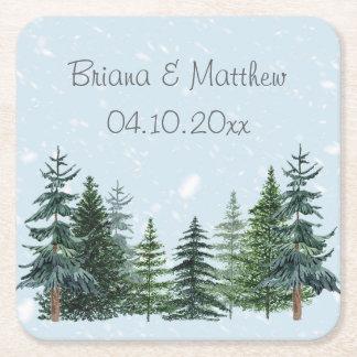 Porta-copo De Papel Quadrado Pinheiros modernos do inverno que Wedding a porta