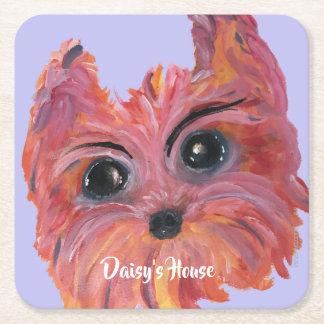 Porta-copo De Papel Quadrado Pintura bonito do cão de Yorkie no rosa e na