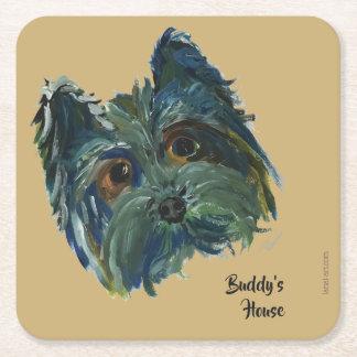 Porta-copo De Papel Quadrado Pintura bonito do pop art de Yorkie do cão no azul
