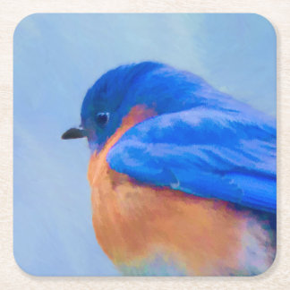 Porta-copo De Papel Quadrado Pintura do Bluebird - arte original do pássaro