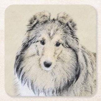 Porta-copo De Papel Quadrado Pintura do Sheepdog de Shetland - arte original