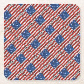 Porta-copo De Papel Quadrado Pintura vestida rachada patriótica da bandeira