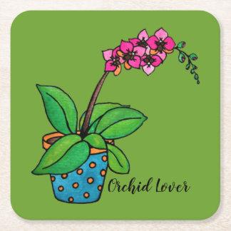 Porta-copo De Papel Quadrado Planta da orquídea da aguarela no pote bonito