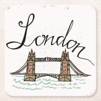 Porta-copo De Papel Quadrado Ponte indicada por letras de Londres da mão