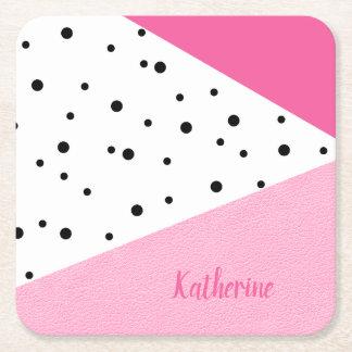 Porta-copo De Papel Quadrado Pontos pretos de couro cor-de-rosa geométricos