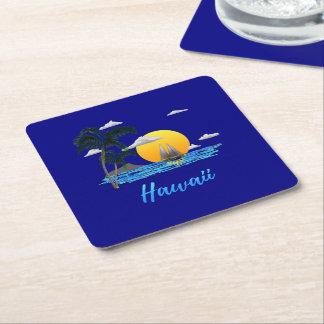 Porta-copo De Papel Quadrado Por do sol da praia de Havaí