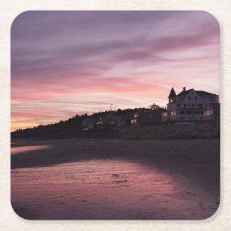 Porta-copo De Papel Quadrado Por do sol da praia de Higgins